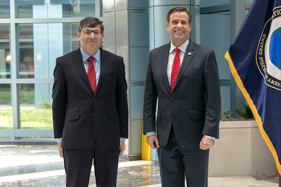 DNI John Ratcliffe (right) visited DNRO Christopher Scolese (left) at NRO at NRO headquarters on August 14, 2020.