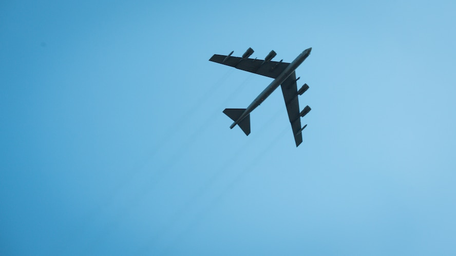 A B-52H Stratofortress from Barksdale Air Force Base, La., flies over a training complex during Exercise Pegasus Forge at Fort Hood, Texas, Aug. 11, 2020. This was a month long culmination of coordination resulting in a realistic exercise for real-life joint environments. (U.S. Air Force photo by Senior Airman Lillian Miller)