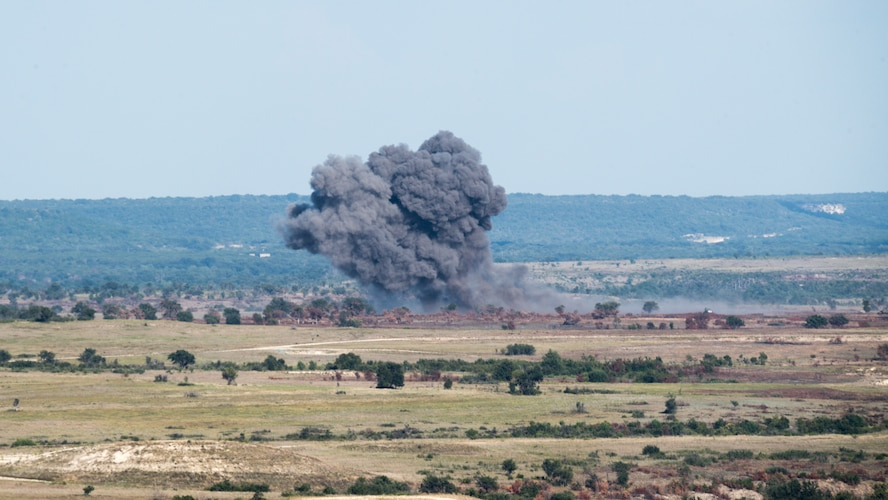 Dropped munitions create an explosion during Exercise Pegasus Forge at Fort Hood, Texas, Aug. 11, 2020. The event took 45 days in the field leading up to the last full day filled with a fires coordination exercise. (U.S. Air Force photo by Senior Airman Lillian Miller)