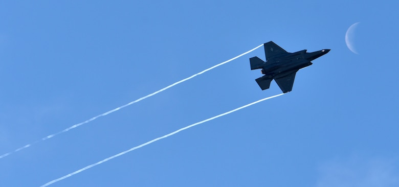 An F-35 Lightning II flys over Eielson Air Force Base, Alaska, at midday during RED FLAG-Alaska 20-3 Aug. 13, 2020. The F-35 is the most advanced fighter in the U.S. Air Force's inventory and Eielson is the first Air Force base in the pacific theatre to receive them. (U.S. Air Force photo by Senior Airman Beaux Hebert)