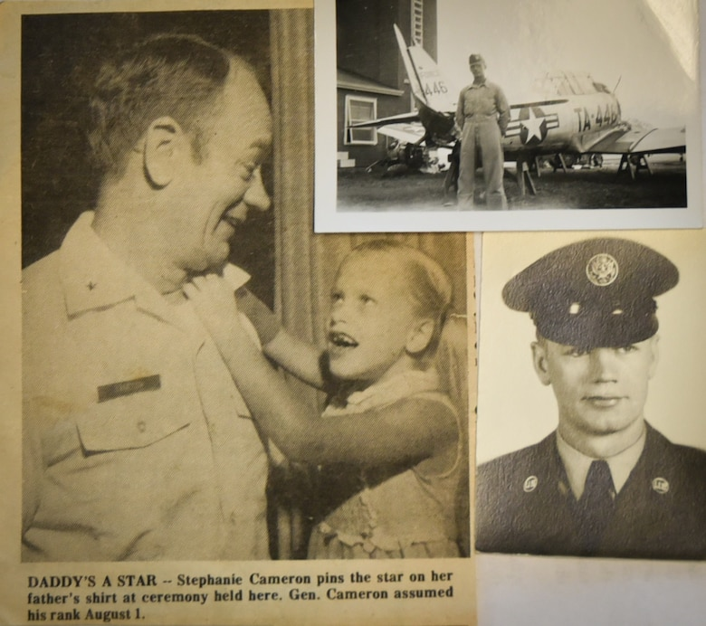 A collage of photos shared from Brig. Gen. Lyle Cameron's family spanning from his life. His daughter Stephanie pins on his star during his promotion ceremony to Brig. Gen. on Aug. 1, 1973, and a young Cameron with his Republic F-84 Thunderjet on July 26, 1951. (Courtesy photos)
