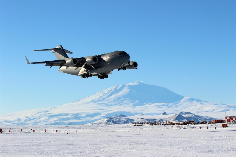 A C-17 Globemaster III from Joint Base Lewis-McChord, Wash., prepares to land at Phoenix Airfield, Antarctica, in this February 2019 file photo. Operation Deep Freeze (ODF) is the only military operation conducted in Antarctica and is carried out in part by Airmen from the 62nd Airlift Wing. (Courtesy photo by Art Gordon)