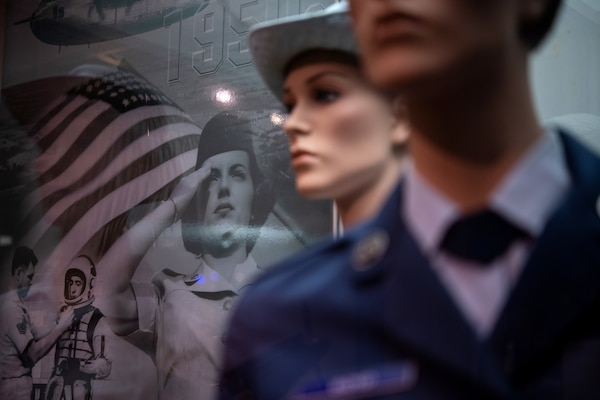 Artifacts from the Women in the Air Force gallery are displayed in the USAF Airman Heritage Training Complex, Aug. 10, 2020 at Joint Base San Antonio-Lackland, Texas. The Airman Heritage Museum collects, researches, preserves, interprets and presents the USAF Enlisted Corps history, heritage, and traditions to develop Airmen today and for tomorrow.  (U.S. Air Force photo by Sarayuth Pinthong)