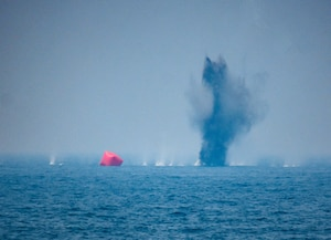 An inflatable target takes fire from an AC-130W Stinger II gunship, attached to Special Operations Command Central, during an air operations in support of maritime surface warfare exercise with United Arab Emirates Joint Aviation Command forces in the Arabian Gulf Aug. 11, 2020. Integration operations between UAE and U.S. maritime forces are regularly held to maintain interoperability and the capability to counter threats posed in the maritime domain, ensuring freedom of navigation and free flow of commerce throughout the region's heavily trafficked waterways. (U.S. Army photo by Staff Sgt. Timothy Clegg)