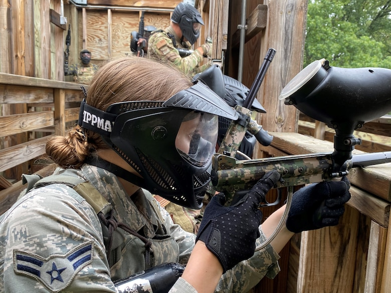 Airmen from the 148th Security Forces Squadron participate in a field training exercise (FTX) at Camp Ripley Training Center, Minnesota on August 13, 2020.