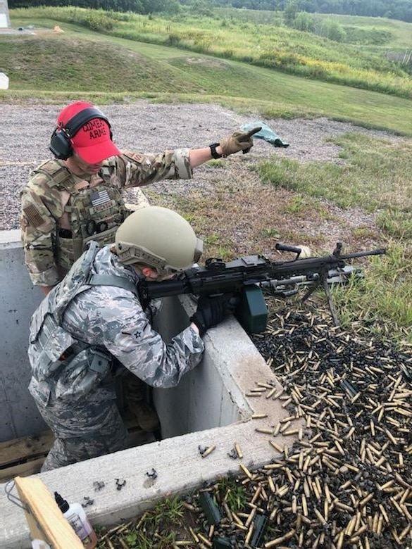 Airmen from the 148th Security Forces Squadron complete combat arms training during a 10-day training exercise at Camp Ripley Training Center, Minnesota.