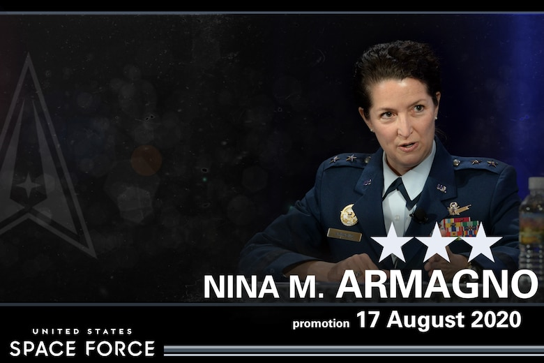Lt. Gen. Nina Armagno became the first female officer to promote to three-star general and transfer into the U.S. Space Force during a ceremony at the Pentagon, Aug. 17. 2020. Armagno will serve as the director of staff for Headquarters U.S. Space Force, where she will oversee day to day staff operations to include establishment activities for the new service.