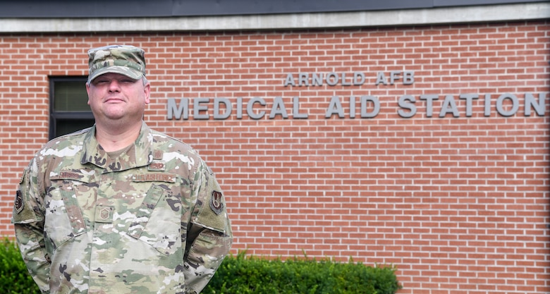 Master Sgt. Joshua Suggs is the branch chief for the Medical Aid Station at Arnold Air Force Base. He delayed his retirement when the COVID-19 pandemic increased the unit's workload. (U.S. Air Force photo by Jill Pickett)
