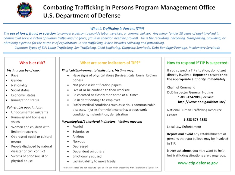 Trafficking in Persons Indicators (DOD graphic)