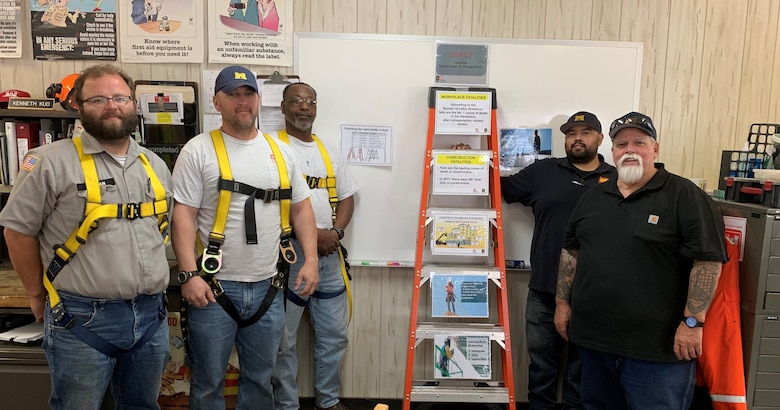 Sacramento District's Bryte Yard teammates Greg Jerman, James Helm, Tony Theard, Vince Diaz and Mike Guidry fashion a ladder as a base for a fall prevention safety display. The display is used to remind workers of the importance of preventing falls in the construction industry. The Sacramento District maintenance yard, located in the West Sacramento community of Bryte, is home to the team of craftsmen with skills in vessel and heavy equipment operation, carpentry, electrical, pipefitting, plumbing, metal fabrication, welding. The Bryte Yard Team will be participation in the virtual 7th Annual Safety Stand-Down set for Sept. 14 -18.