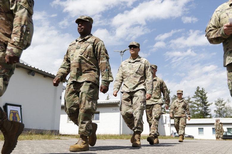 U.S. Army Reserve junior noncommissioned officers with the 7th Mission Support Command march during a drill and ceremony class taught by senior NCOs as part of a Junior Leader Certification Program held in Grafenwoehr, Germany, July 28, 2020. The program is designed to reinforce standards and is unique to the Army Reserve.
