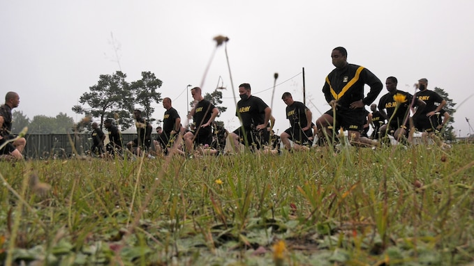U.S. Army Reserve junior noncommissioned officers with the 7th Mission Support Command conduct physical readiness training as part of a Junior Leader Certification Program held in Grafenwoehr, Germany, July 28, 2020. The program is designed to reinforce standards and is unique to the Army Reserve.