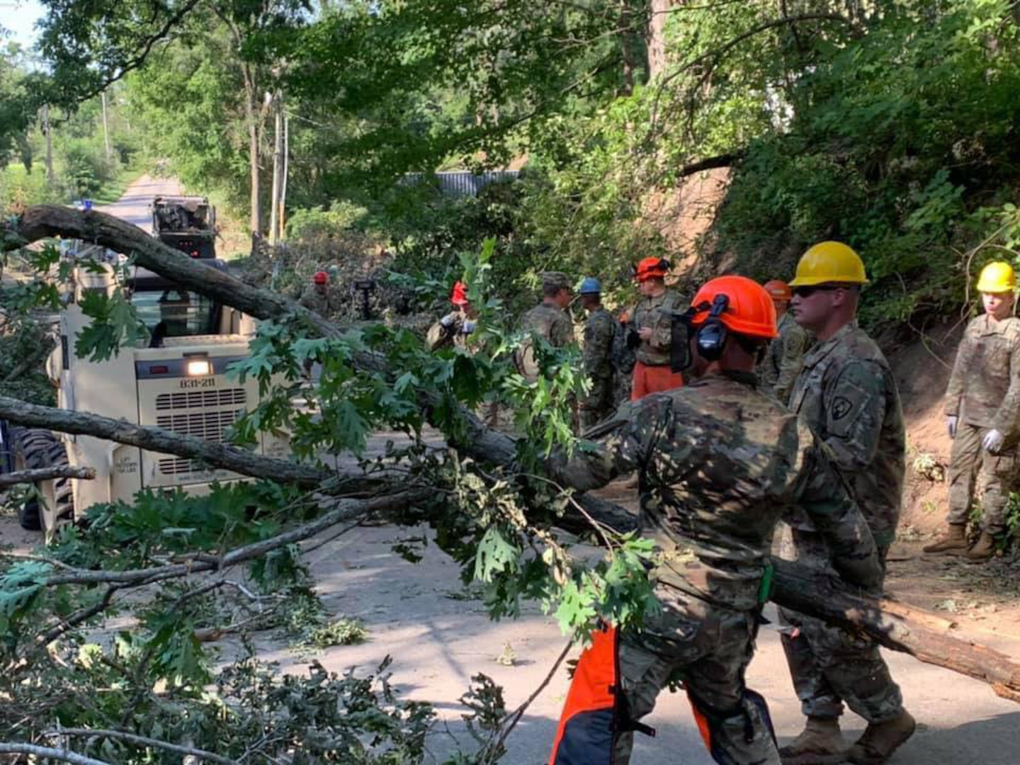 Over the Aug. 15-16, 2020, weekend, Iowa National Guard Soldiers with the 831st Engineer Company worked to clear downed trees to reach a substation that supplies power to parts of Cedar Rapids. The Guard assisted with cleanup efforts after a derecho struck the area Aug. 10.