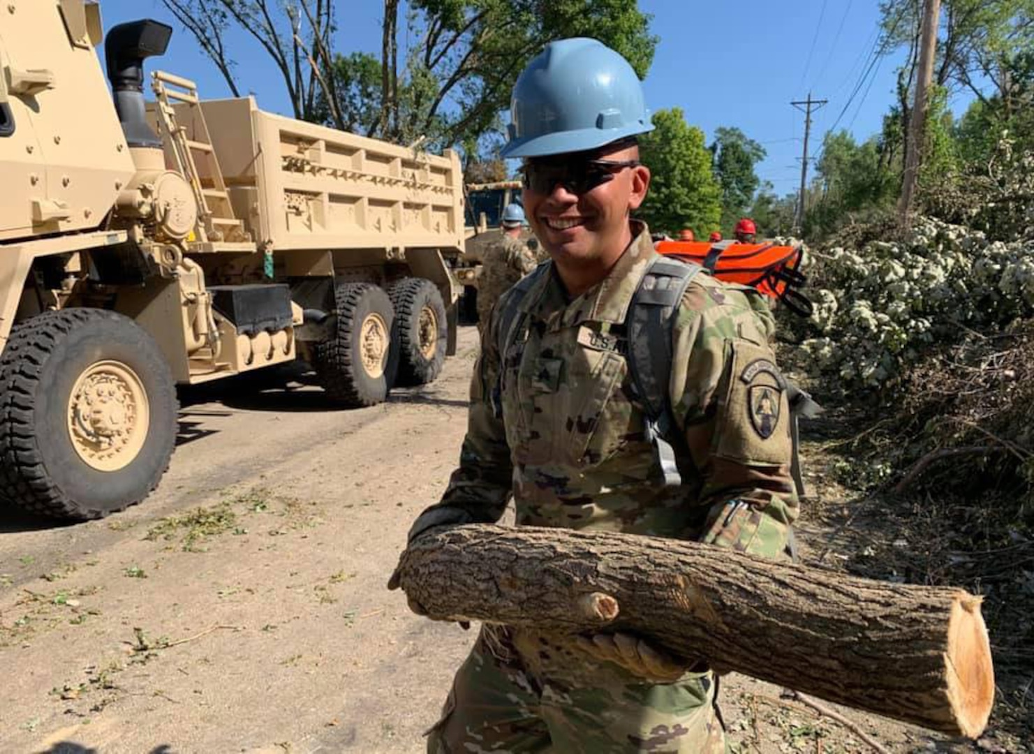 Iowa National Guard Soldiers with the 831st Engineer Company worked Aug. 15-16, 2020, to clear downed trees to reach a substation that supplies power to parts of Cedar Rapids. An Aug. 10 derecho caused widespread damage in the area.