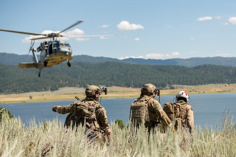 Idaho Air National Guard special warfare tactical air control party Airmen from the 124th Air Support Operations Squadron conduct search and rescue training with the IDANG 190th Fighter Squadron and the U.S. Navy's Helicopter Sea Combat Squadron Four from North Island Naval Air Station, California, on Lake Cascade in Cascade, Idaho, August 11, 2020. The training simulated a combat search and rescue including two A-10 Thunderbolt II's and a HSC-4 MH-60S Seahawk helicopter. (U.S. Air National Guard photo by Senior Airman Mercedee Wilds)