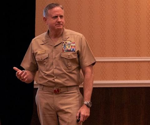 U.S. Navy Vice Adm. Dee Mewbourne, deputy commander, U.S. Transportation Command, Scott Air Force Base, Illinois,  instructs a Transportation Academy course at the National Defense Transportation Association-USTRANSCOM Fall Meeting, October 2019.