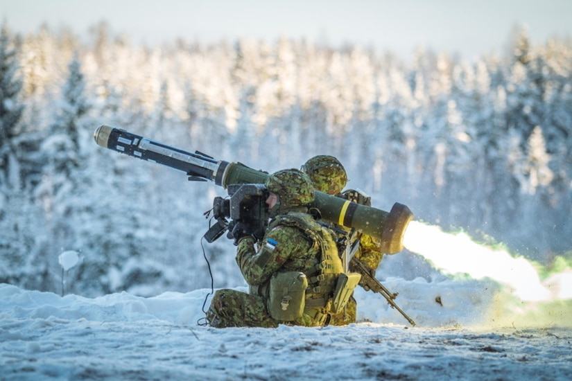 Estonian troops conduct training on the Javelin, an American-made, portable fire-and-forget anti-tank missile. The United States delivered nearly 100 Javelin missiles to Estonia July 24 as part of a congressionally funded $19 million Building Partner Capacity case. (Photo by Kaitseväe Pildigalerii, Estonian Defense Forces)