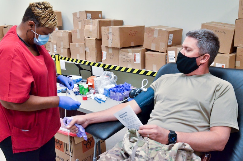Members of the 117th Air Refueling Wing participate in a blood drive on Aug. 14, 2020 at Sumpter Smith JNGB, Ala. 