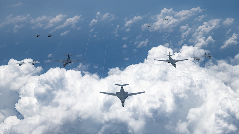 U.S. Air Force, Navy, Marine Corps and Japan Air Self Defense Force aircraft conduct a large-scale joint and bilateral integration training exercise Aug. 18, 2020. Four B-1B Lancers, two B-2 Spirit Stealth Bombers, and four F-15C Eagles conducted Bomber Task Force missions simultaneously within the Indo-Pacific region over the course of 24 hours. Pacific Air Forces routinely conducts BTF operations to show the United States' commitment to allies and partners in the Indo-Pacific area of responsibility. (U.S. Air Force photo by Staff Sgt. Peter Reft)