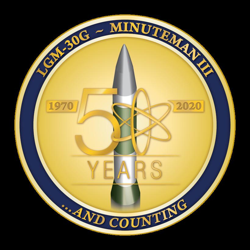 A roundel celebrating 50 years of Minuteman III history.
