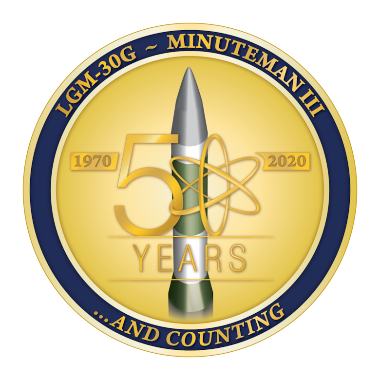 A roundel celebrating 50 years of Minuteman III history.