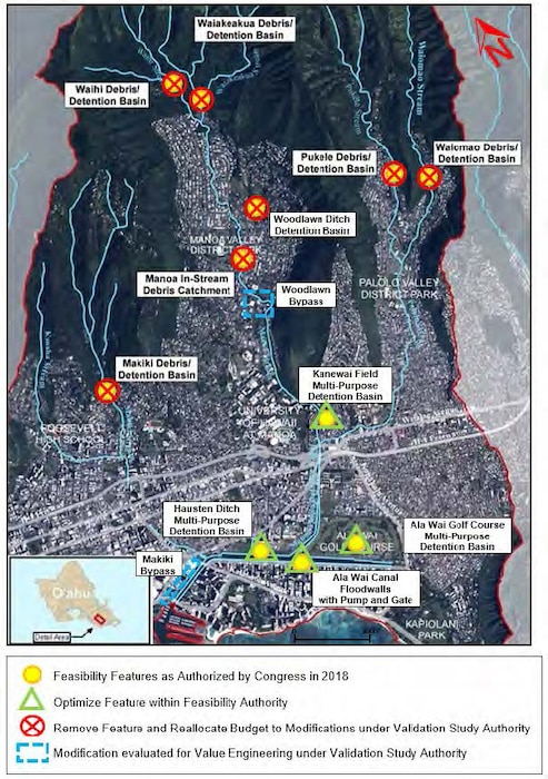 The U.S. Army Corps of Engineers (USACE) Honolulu District completed an Engineering Documentation Report Aug. 6 that provides the new recommended plan for the Ala Wai Flood Control Project.