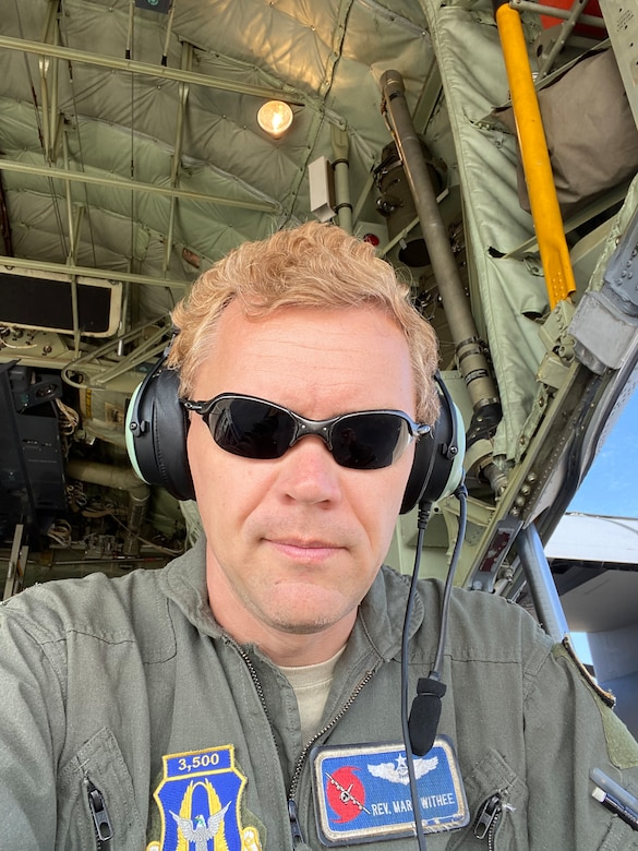 Maj. Mark Withee, 53rd Weather Reconnaissance Squadron navigator, has been flying with the Air Force Reserve for five years and has more than 3,600 flight hours in the C-130. He said that his most memorable storm was a night flight during Hurricane Michael, because as they were tracking it, the Hurricane was rapidly intensifying and made his job that much more busy and exciting due to the constant changes in flightpaths as the storm neared land. (U.S. Air Force photo by Maj. Mark Withee)