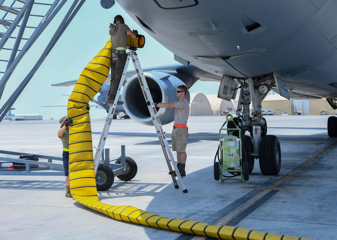 Maintainers from the 380th Expeditionary Maintenance Squadron prepare for the launch of a KC-10 Extender at Al Dhafra Air Base, United Arab Emirates, Aug. 18, 2020.