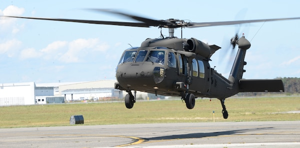 A new UH-60M Black Hawk helicopter assigned to the New York Army National Guard's 3rd Battalion, 142nd Aviation Regiment, comes in to land at their flight facility in Ronkonkoma, N.Y., Aug. 18, 2020. The UH-60M is the most current version of the Black Hawk and offers more efficient rotor blades, glass cockpit, improved engines, flight controls and aircraft navigation.