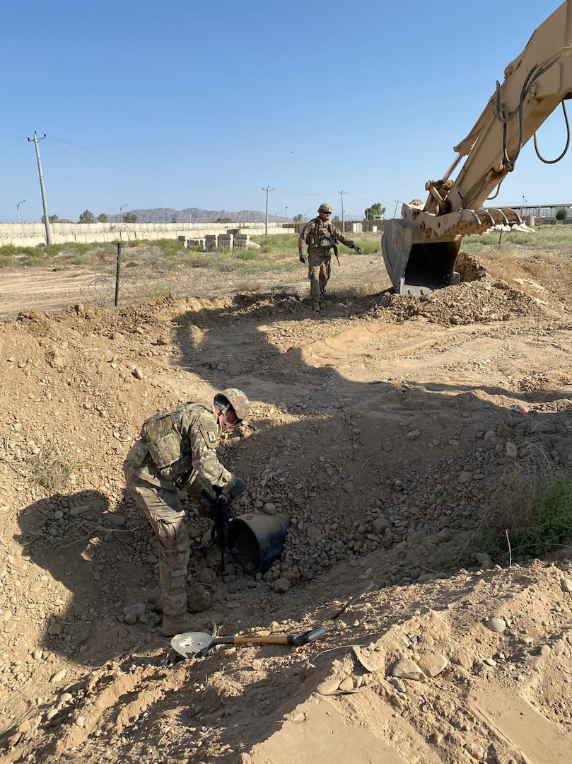 Soldiers from the Wisconsin Army National Guard's 829th Engineer Company construct an entry control point in Afghanistan in May 2020. Approximately 150 Soldiers from the 829th Engineer Company are deployed across the Middle East and Southwest Asia.