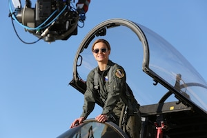 "Actor Brie Larson poses for a photo during the filming of ""Captain Marvel"" at Edwards Air Force Base, California in 2018. (Photo courtesy of Air Force Test Center History Office)"