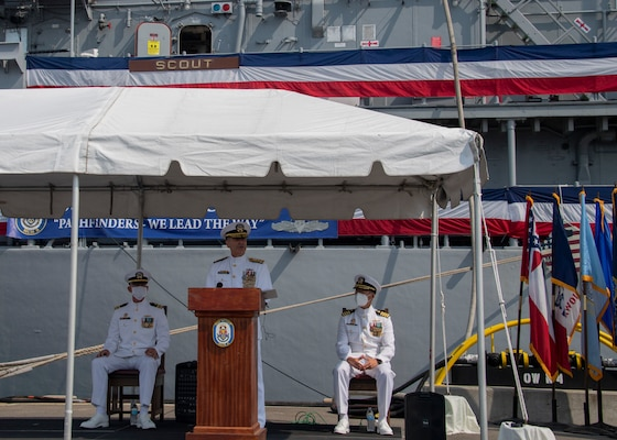 Vice Adm. Roy Kitchener, Commander, Naval Surface Force, U.S. Pacific Fleet, delivers remarks during the decommissioning ceremony of the Mine Countermeasure ship USS Scout (MCM 8).