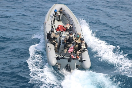 USS Nitze (DDG 94) with embarked U.S. Coast Guard Law Enforcement Detachment (LEDET) team conducts enhanced counter narcotics operations.