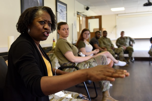 "A participant shares a personal story during the Diversity and Inclusion committee's ""Finding Comfort in Discomfort"" discussion at Royal Air Force Lakenheath, England, Aug. 12, 2020. The open forum serves as a platform for Airmen of all ranks, their families, civilians and other members of the 48th Fighter Wing community to have an open discussion on the topic of racism. (U.S. Air Force photo by Senior
