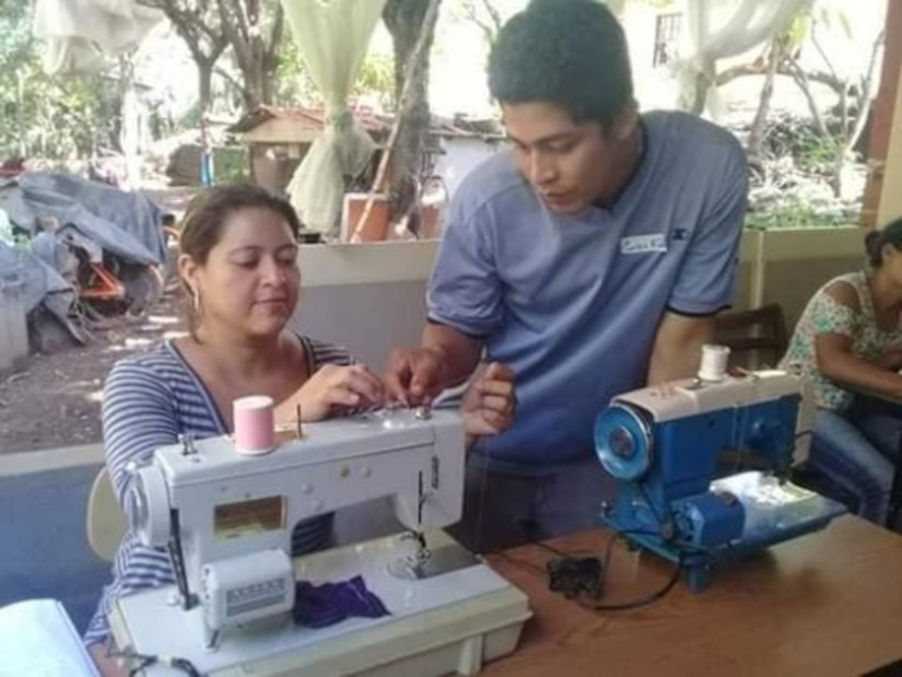 Community-based learning centers in Nicaragua use sewing machines provided via a shipment of humanitarian cargo from Wisconsin/Nicaragua Partners of the Americas Inc., with help from the Wisconsin National Guard as part of the National Guard's State Partnership Program.
