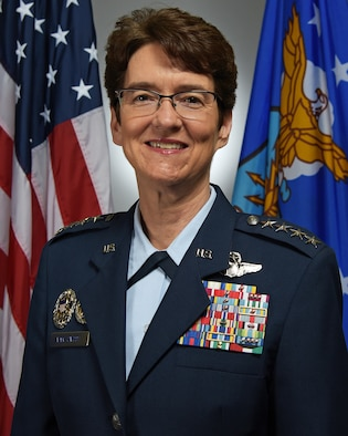 This is the official portrait of Gen. Jacqueline Van Ovost.