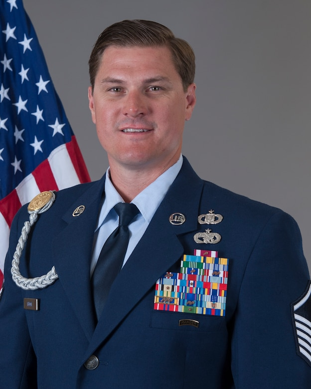 U.S. Air Force Master Sgt. Douglas K. Brock, a tactical air control party specialist from the 124th Air Support Operations Squadron, Idaho Air National Guard, poses for an official photo at the 124th Fighter Wing in Boise, Idaho, Aug. 2, 2020. Brock was selected as the Air National Guard 2020 Outstanding Senior Noncommissioned Officer of the Year. (Courtesy Photo)