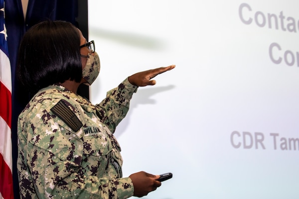Naval Medical Readiness Training Center Portsmouth's Environmental Health Officer and Preventive Medicine Department Head, Lt. Paris Williams gives COVID Contact Tracing & Investigation Training to Norfolk Naval Shipyard's leadership.