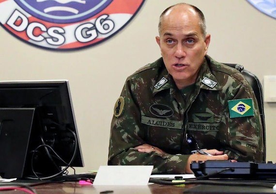 General-de-Brigada Alcides V. Faria, Jr., deputy commanding general of interoperability, U.S. Army South, participated in a virtual key leader engagement with personnel from the Jamaica Defence Force, Caribbean Disaster Emergency Management Agency (West) and the Office of Disaster Preparedness Management Aug. 17 to discuss humanitarian assistance and disaster relief preparations in Jamaica and assess capabilities in the event of a natural disaster.
