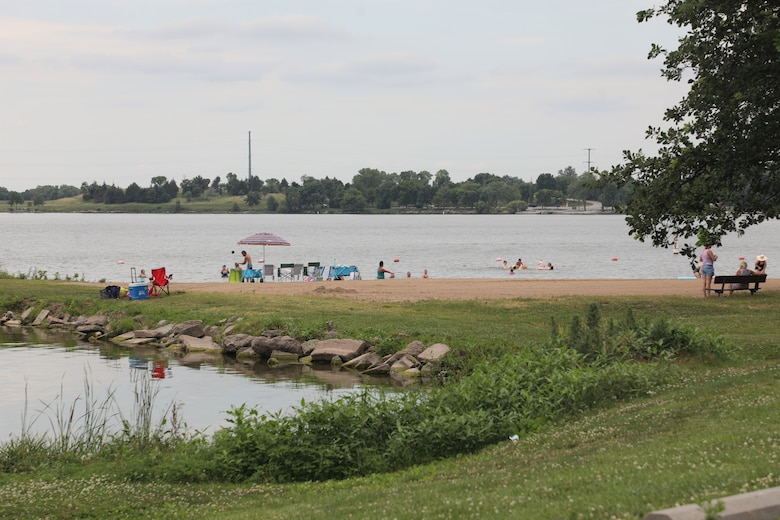 Guests swim in a cove at Pawnee State Recreation Area just outside of Lincoln, Neb., July 15.