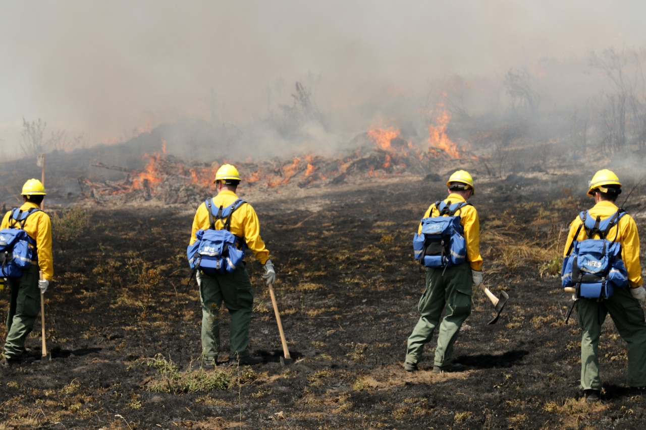 Firefighters fight fire.