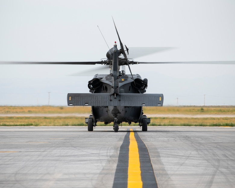 A U.S. Air Force HH-60G Pave Hawk from the 55th Rescue Squadron taxis down the flightline Aug. 17, 2020, at Mountain Home Air Force Base, Idaho. The 55th RQS is participating in Gunfighter Flag 20-1, where they train with joint and international partners to complete combat and rescue exercises. (U.S. Air Force photo by Airman 1st Class Andrew Kobialka)