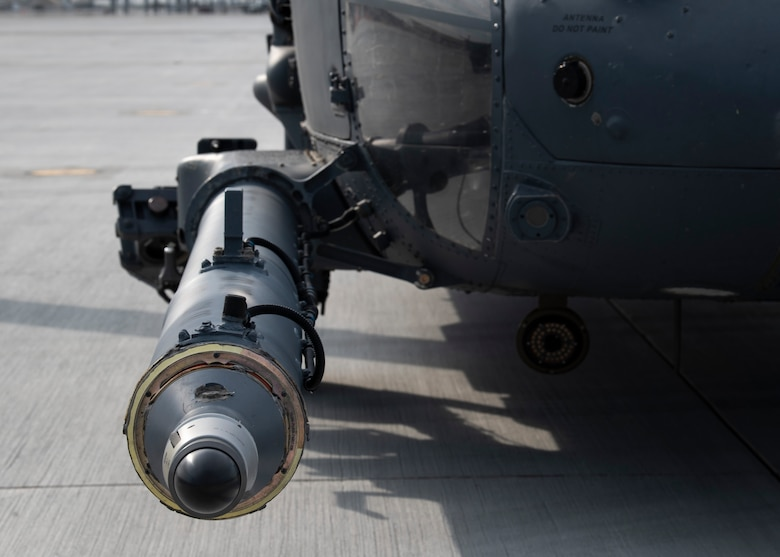 A retractable refueling probe on a U.S. Air Force HH-60G Pave Hawk from the 55th Rescue Squadron, Aug. 17, 2020, at Mountain Home Air Force Base, Idaho. The refueling probe allows for extended missions without having to land. (U.S. Air Force photo by Airman 1st Class Andrew Kobialka)