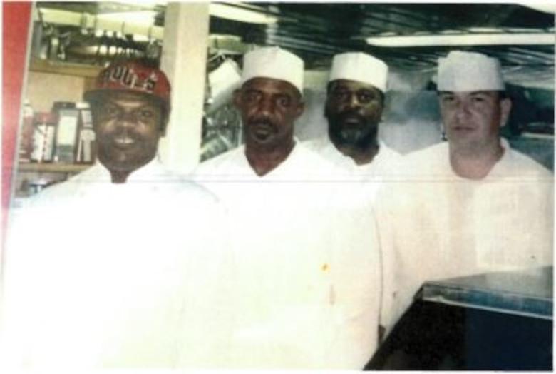 IN THE PHOTO, Dredge Hurley Ship Keeper Curtis Williams poses alongside his coworkers in 1994. Williams is celebrating a little over 30 years of service with the Memphis District U.S. Army Corps of Engineers.