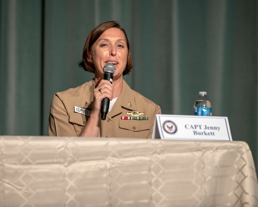 U.S. Navy Capt. Jenny Burkett, Navy Hospital Okinawa interim executive officer, shares her experience during the Women's Leadership Panel at Kadena Air Base, Japan, Aug. 19, 2020. The program acknowledged and raised awareness of the long strides the US has taken to afford women the same allowances as men. (U.S. Air Force photo by Naoto Anazawa)