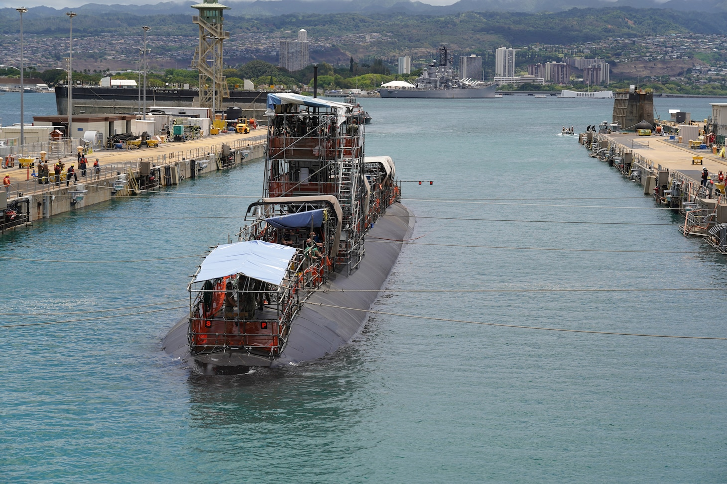 Pearl Harbor Naval Shipyard & Intermediate Maintenance Facility successfully undocked Los Angeles-class fast-attack submarine USS Columbia (SSN 771) July 16, 2020 from Dry Dock #2. The undocking was a major milestone in completing the submarine's engineered overhaul (EOH) availability.