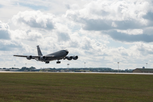 A KC-135 Stratotanker aircraft sits on the flightline at Royal Air Force Mildenhall, England, Aug. 19, 2020.The 100th Air Refueling Wing conducts air refueling and combat support operations throughout the European and African area of responsibility. (U.S. Air Force photo by Airman 1st Class Joseph Barron)