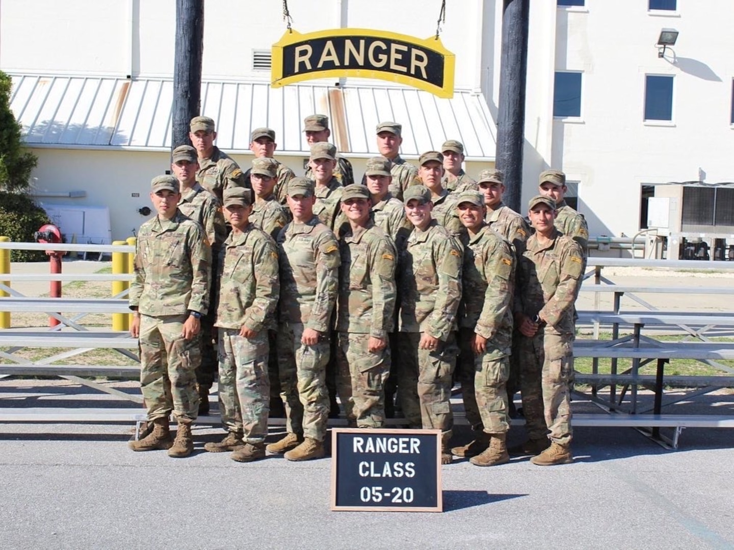 First Lt. Aidan O'Connor (front row, third from the right) poses alongside his fellow Ranger School Graduates after successfully completing the course. O'Connor, a graduate of the Virginia Military Institute, is currently assigned as the executive officer to Delta Company, 3rd Battalion, 116th Infantry Regiment, 116th Infantry Brigade Combat Team.