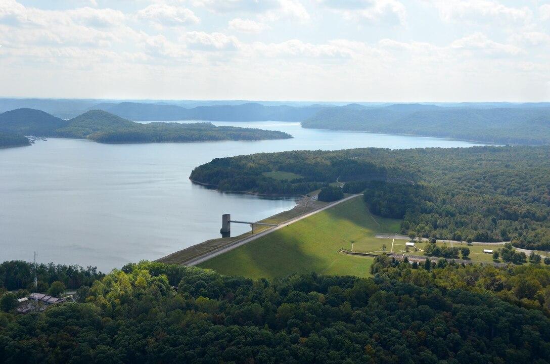 Aerial of Cave Run Lake Dam