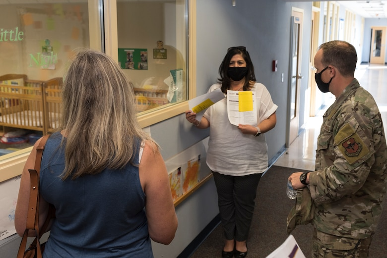 Melissa Menchaca, 47th Force Support Squadron child development center director, discusses challenges and solutions for child development center operations during COVID-19 with Col. Craig Prather, 47th Flying Training Wing commander on Aug. 21, 2020, at Laughlin Air Force Base, Texas. Prather toured the Child Development Center, Youth Center, Bobby Barrera Science, Technology, Engineering, Mathematics School and housing on base to better understand the needs of Laughlin Airmen and their families. (U.S. Air Force photo by Senior Airman Anne McCready)